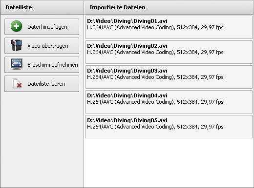 Auswahlbereich - Ansicht Dateiliste