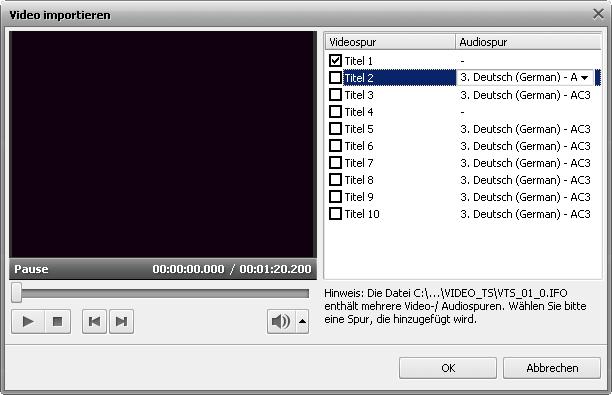 """Fenster """"Video importieren"""""""