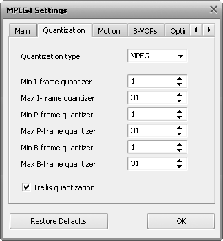 MPEG-4 Advanced Settings