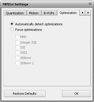 MPEG-4 Advanced Settings