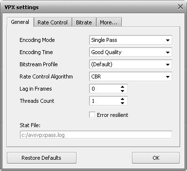 VPX Settings - General Tab