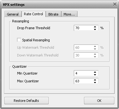 VPX Settings - Rate Control Tab