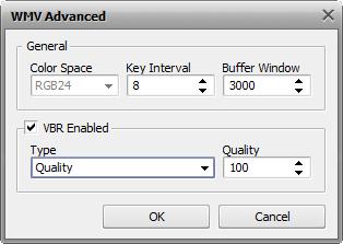 WMV Advanced Codec Settings window
