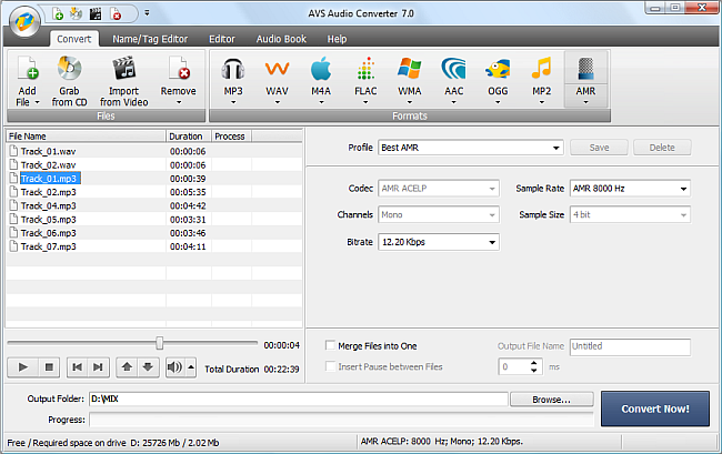 AVS Audio Converter - Converting to AMR Format