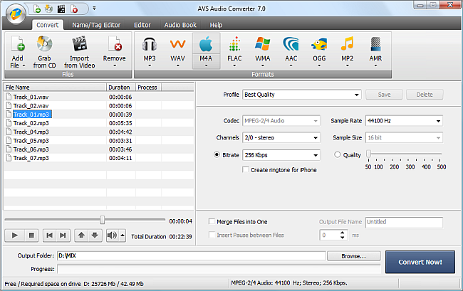 AVS Audio Converter - Converting to M4A Format