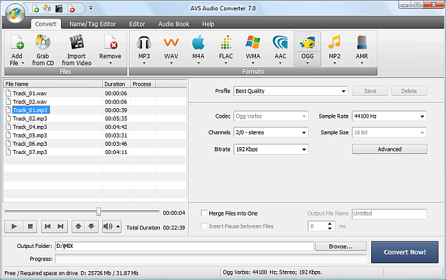 AVS Audio Converter - Converting to OGG Format