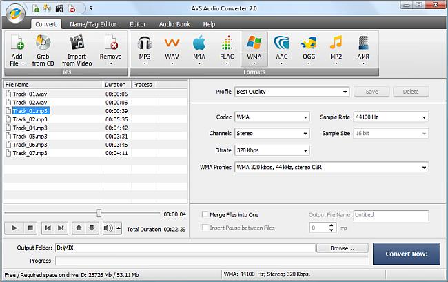 AVS Audio Converter - Converting to WMA Format