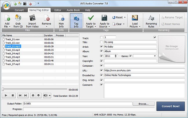 AVS Audio Converter - Modifying Audio Tags