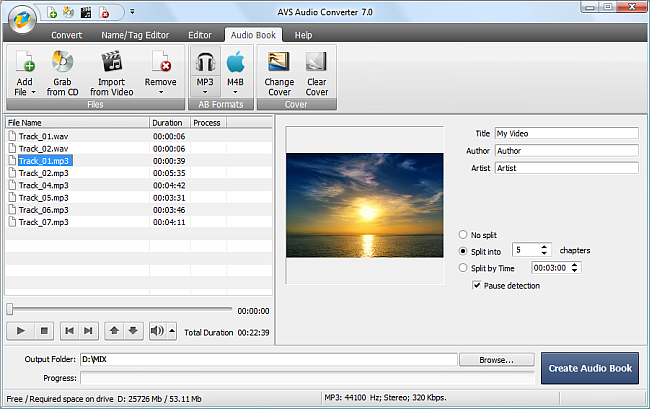 AVS Audio Converter - Creating Audio Book in MP3 Format