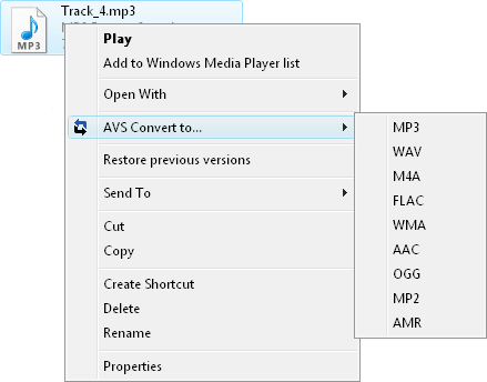 Working with AVS Audio Converter - Quick Conversion