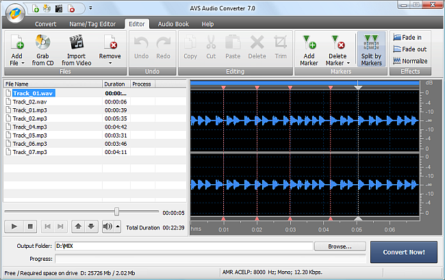 AVS Audio Converter - Splitting Audio Files