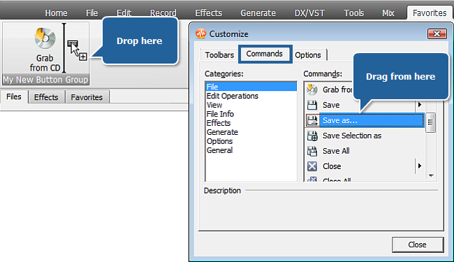 Adding command buttons to button group