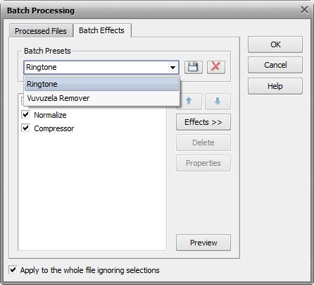 Batch Processing. Effects tab