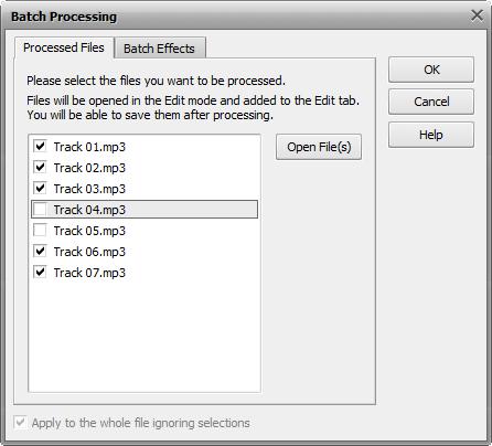Batch Processing. Files tab