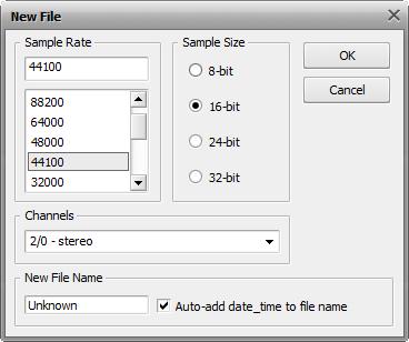 New File window