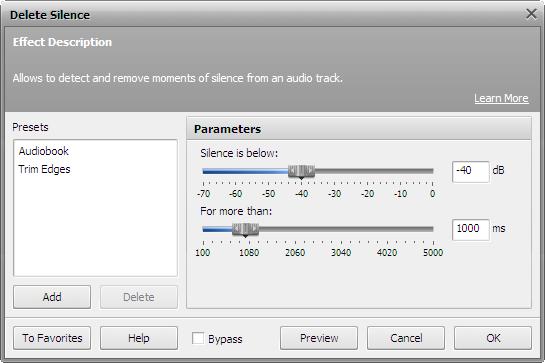 Delete Silence filter settings