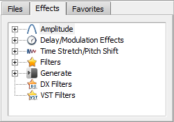Files and Effects Panel. Effects list