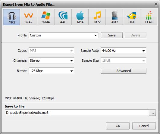 Export Mix to Audio File window