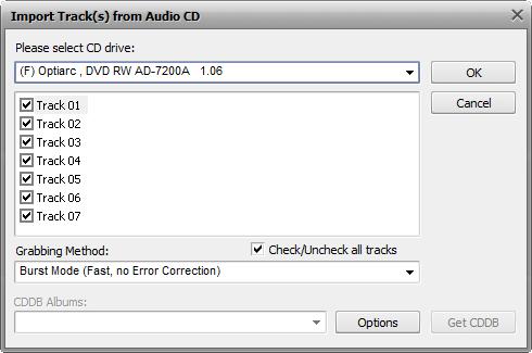 Import Audio Track window