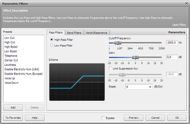High-Pass Filter settings