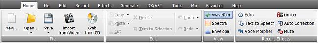 AVS Audio Editor - Home Tab