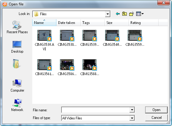 Import Video window