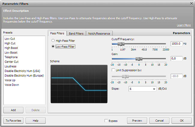 Low-Pass Filter settings