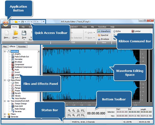 AVS Audio Editor Main Window