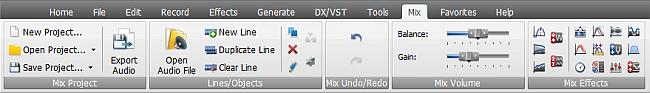 AVS Audio Editor - Mix Tab