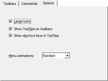Customize window - the Options tab