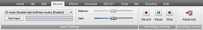 AVS Audio Editor - Record Tab