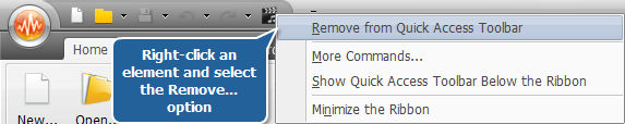Removing elements from Quick Access Toolbar