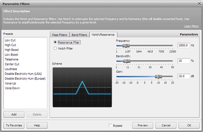 Resonance filter settings
