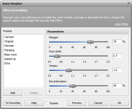Voice Morpher effect settings