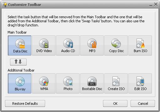 Customize Toolbar window