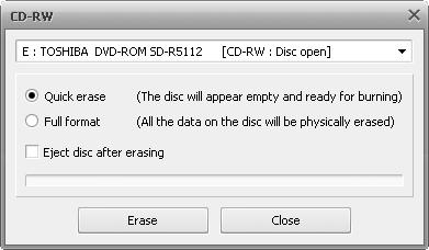 Erase Discs window