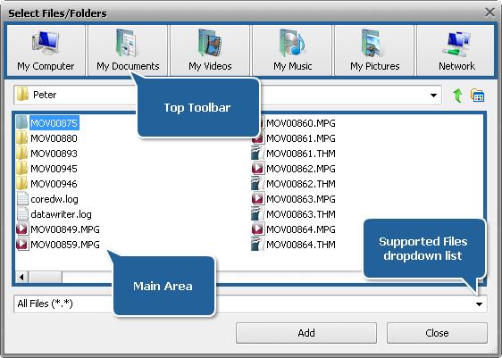 Select Files/Folders window