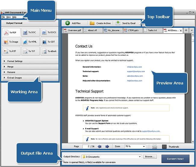 AVS Document Converter main window