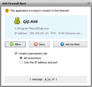application alert window