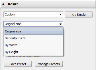 Resize Images panel: Advanced Options