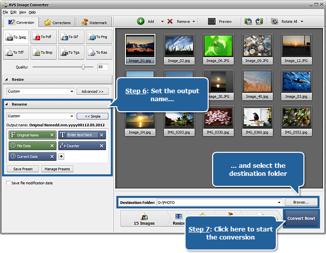 Working with AVS Image Converter: Step 6-7