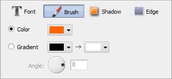 Text Properties area. Brush