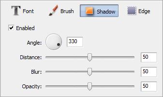 Text Properties area. Shadow