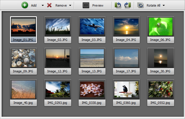 Preview Area - thumbnails Mode