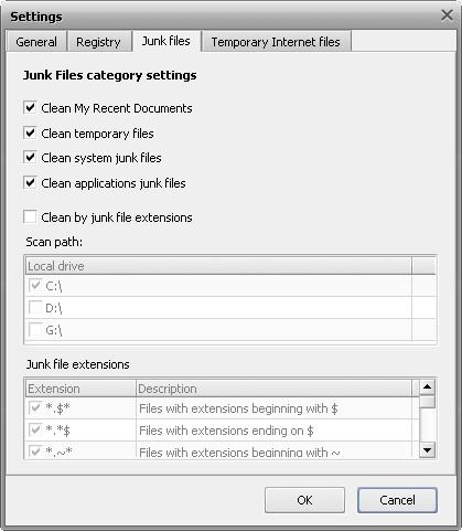 Junk Files Settings