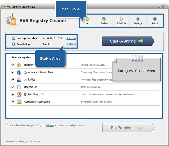 AVS Registry Cleaner Main Window