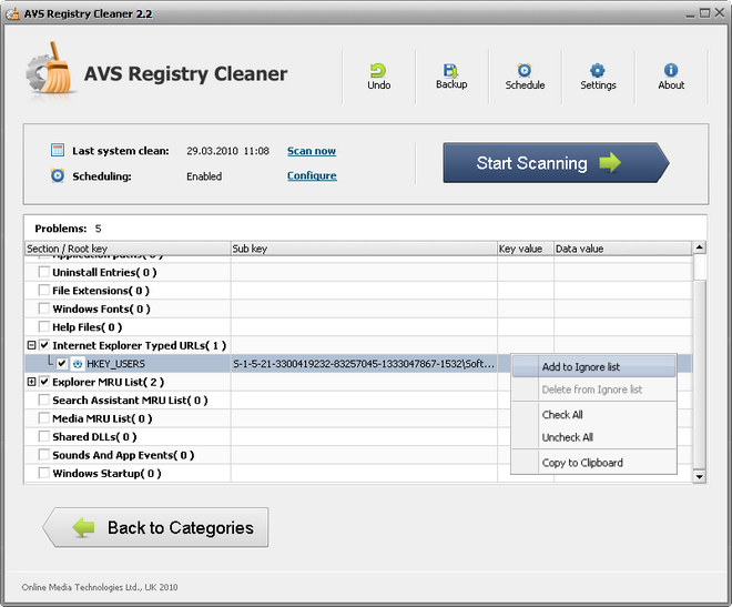 Registry Results