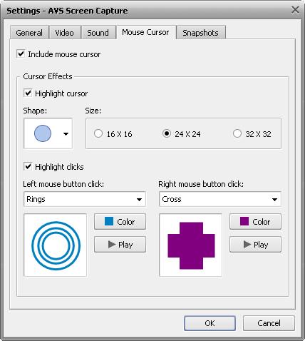 Capture settings window. Mouse cursor tab
