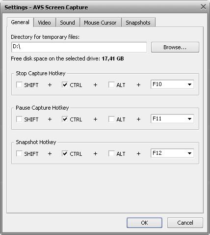 Capture settings window. General Tab