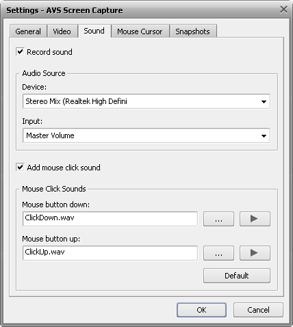 Capture settings window. Sound tab